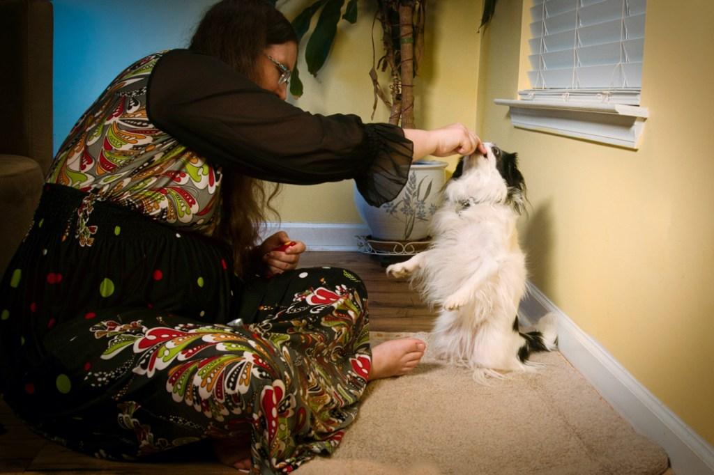 Veronica again lures Hestia into sit pretty.