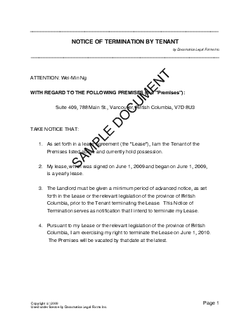 Tenancy Notice Template. eviction form should inform the of his ...