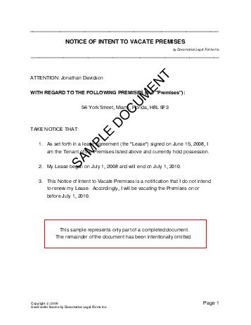 Sample Letter From Landlord To Tenant Vacate In India