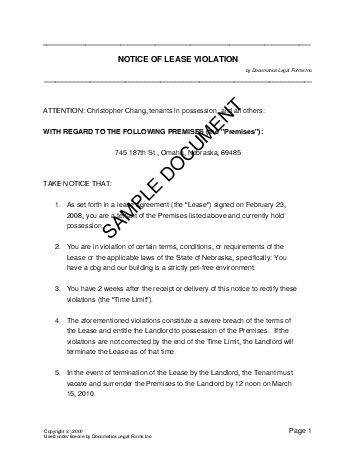 Notice Of Lease Violation India Legal Templates Agreements Contracts And Forms