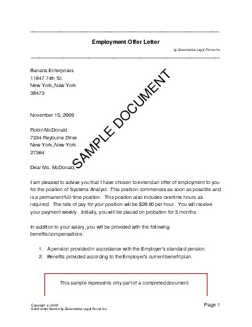 offer letter usa legal templates agreements
