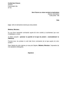 Exemple Gratuit De Lettre Demande Devis Produits