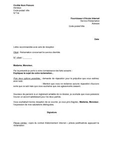 Lettre De Réclamation Concernant Le Service Clientèle
