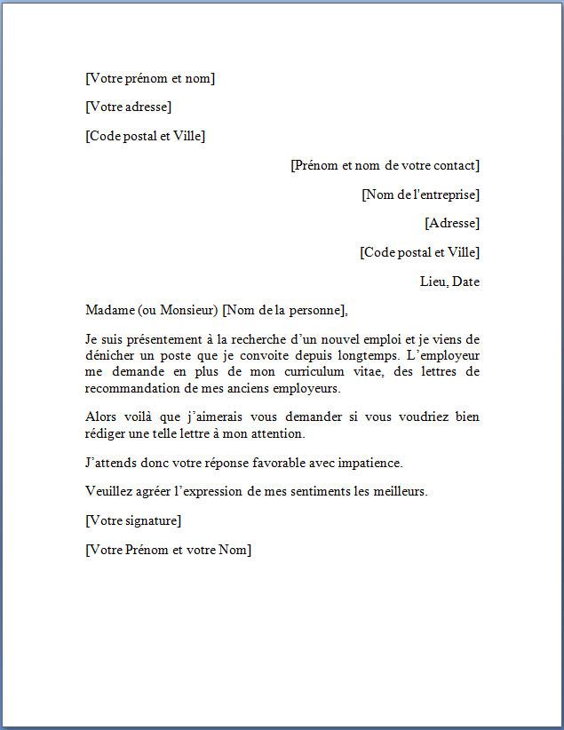Demande de lettre de recommandation | Docutexte