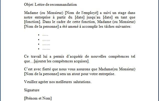 Lettre de recommandation suite à un stage  2