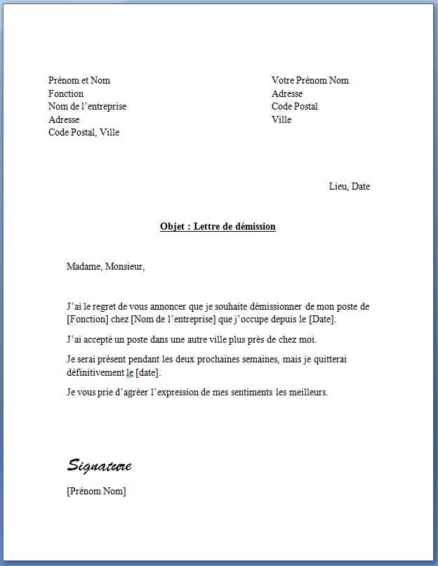 Trois Lettres De Demission Avec Preavis Gratuites Docutexte