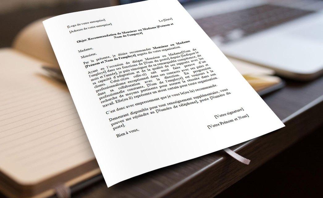 Modèle de lettre de recommandation