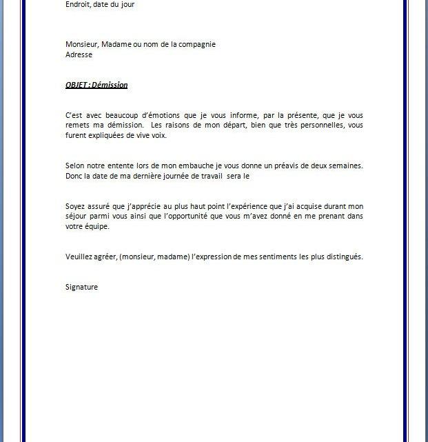 Modèle de lettre de démission avec préavis