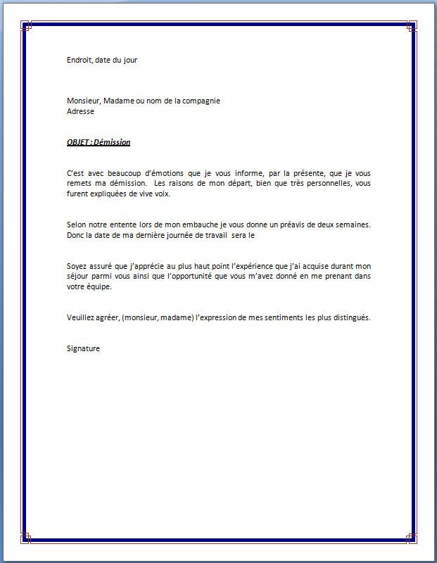 Modèle de lettre de démission avec préavis de deux semaines