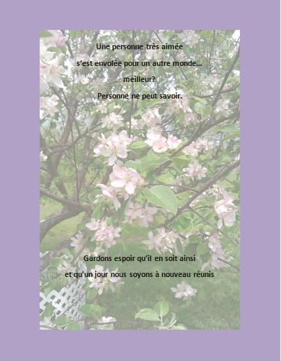 Message de condoléances… Une personne très aimée