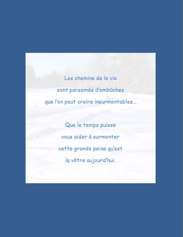 Message de condoléances | Les chemins de la vie