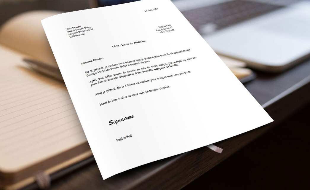 Exemple de lettre de démission pour la Belgique