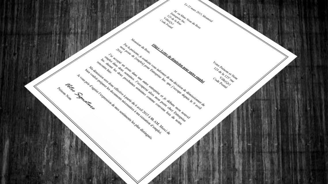 Lettre de démission pour autre emploi