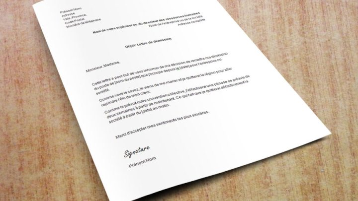 Lettre de démission pour cause de mariage