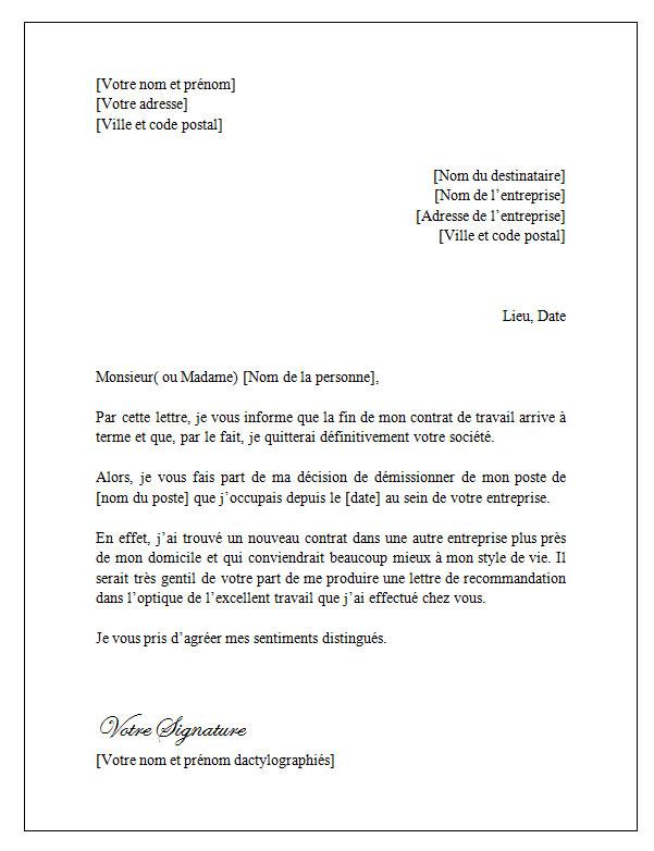 demission_pour_fin_de_contrat