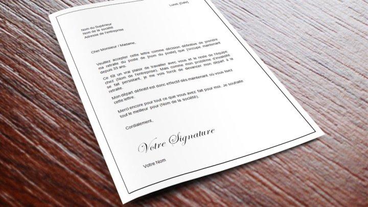 Lettre de démission pour invalidité