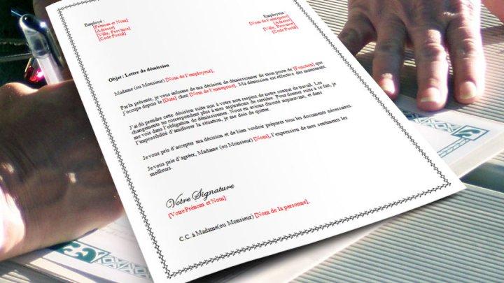 Lettre de démission pour non respect du contrat