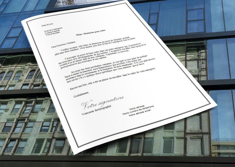 Lettre de démission pour ordre, Dirigeant de société