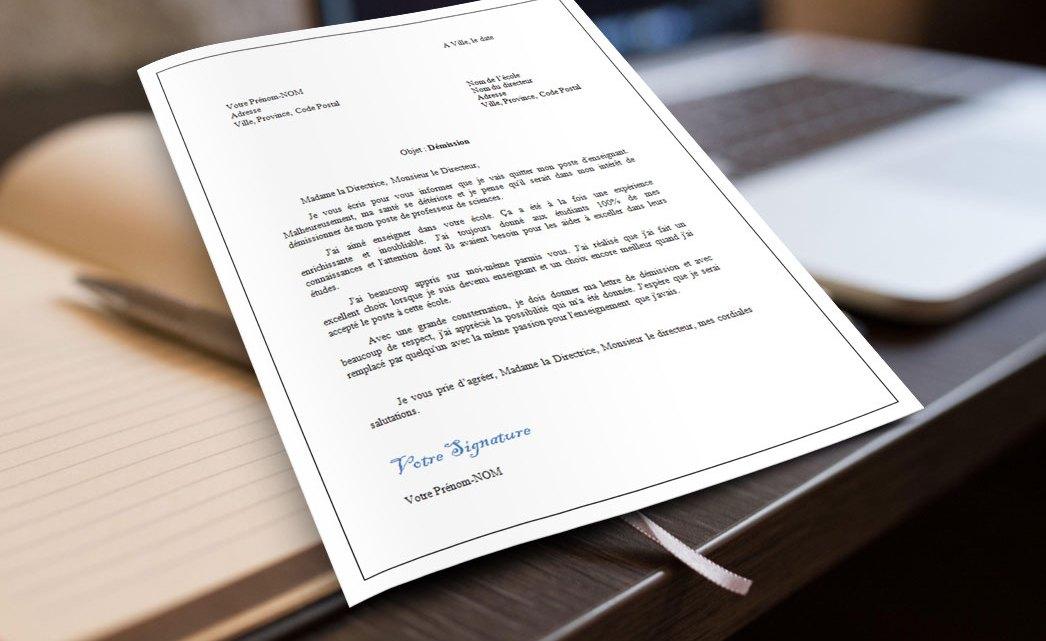 Lettre de démission d'une enseignante ou d'un enseignant