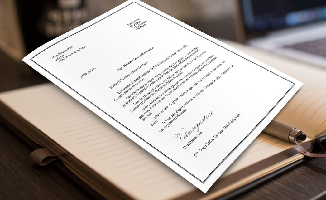 Lettre de démission élu(e) conseil municipal