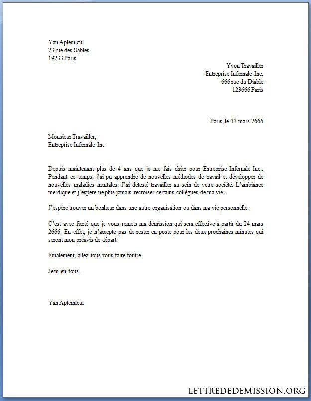 La Lettre de Démission À Ne Pas Faire - Docutexte