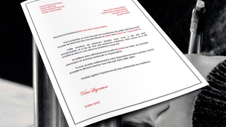 Lettre de démission: Bénévolat