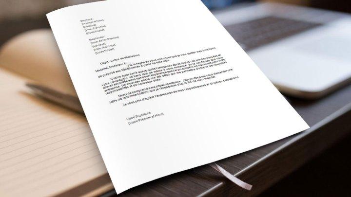 Lettre de démission préposé aux bénéficiaires
