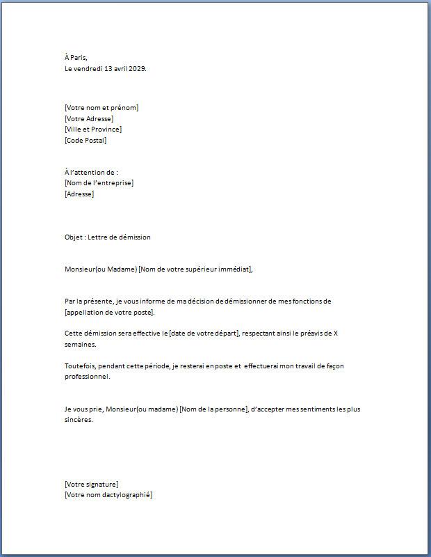 Lettre de Démission Simple | Docutexte