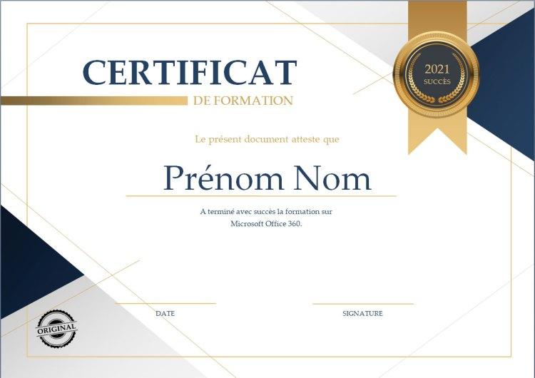 Modèle Word de Certificat de formation
