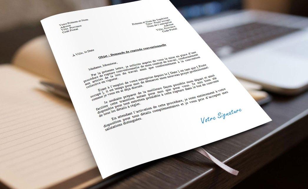 Demande de rupture conventionnelle du contrat de travail – Exemple et Modèle de lettre