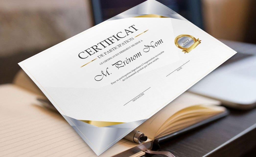 Certificat de participation – Modèle Word gratuit