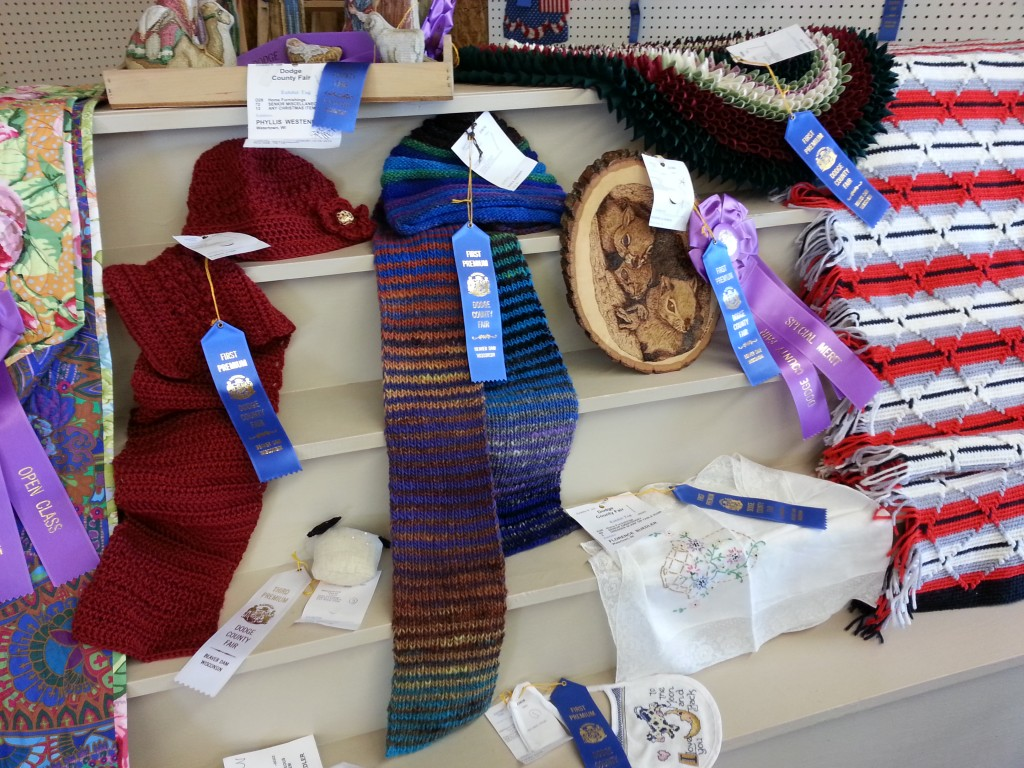 Open Class Exhibitor Knitting and Crocheting entries at the Dodge County Fair