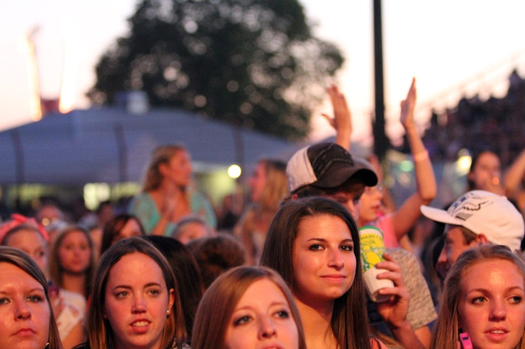 Fans ready for the outdoor concert during the Dodge County Fair