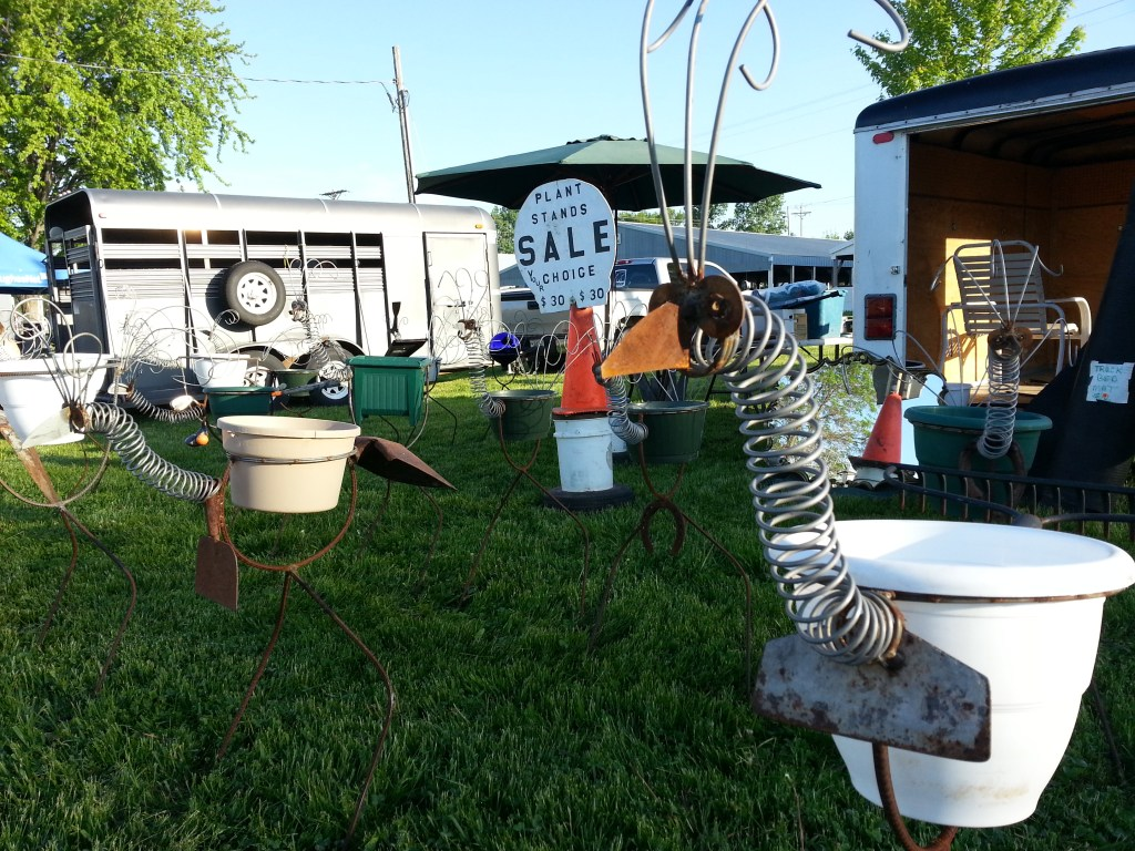 Plant stand welded art for sale during the first Flea Market May 31, 2014