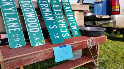 Flea Market Road Signs and Bench