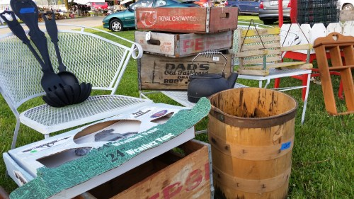 Wood Soda Crates at the Flea Market