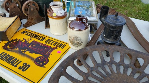 Antique Tractor Seat and Sign