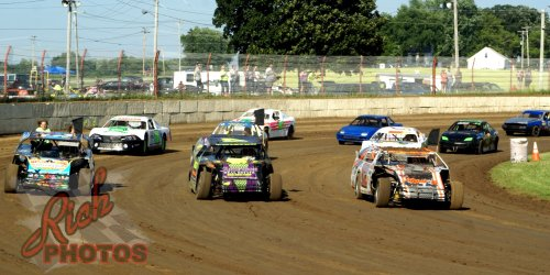 Parade and salute lap at Dodge County Speedway