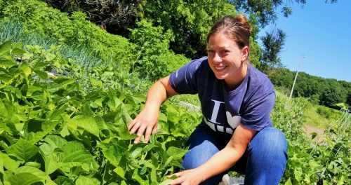 Shelly Grosenick tending garden