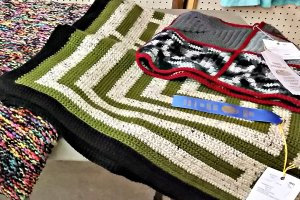 open class knitting crocheting exhibit
