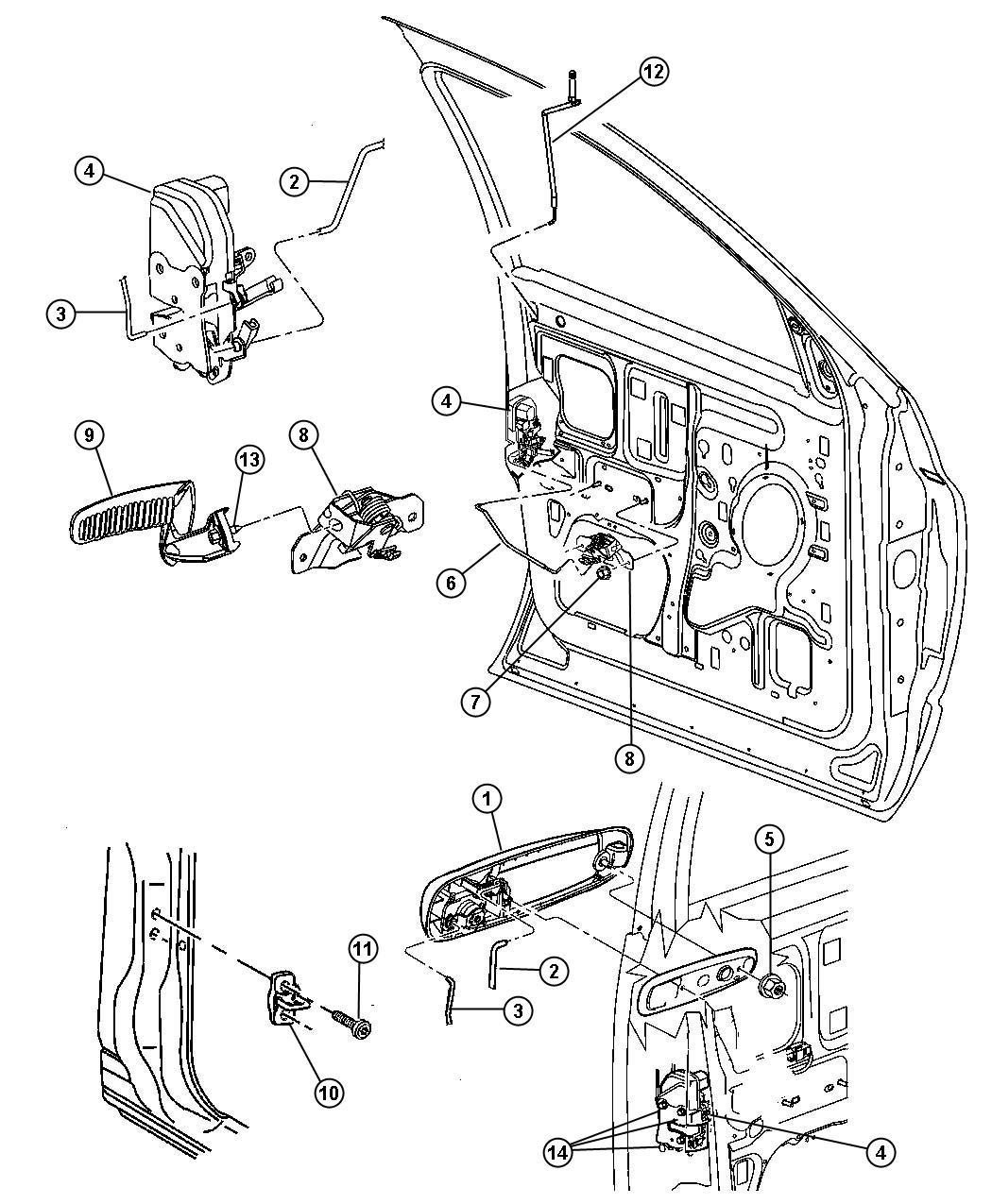 Dodge Ram Latch Front Door Power Locks Left
