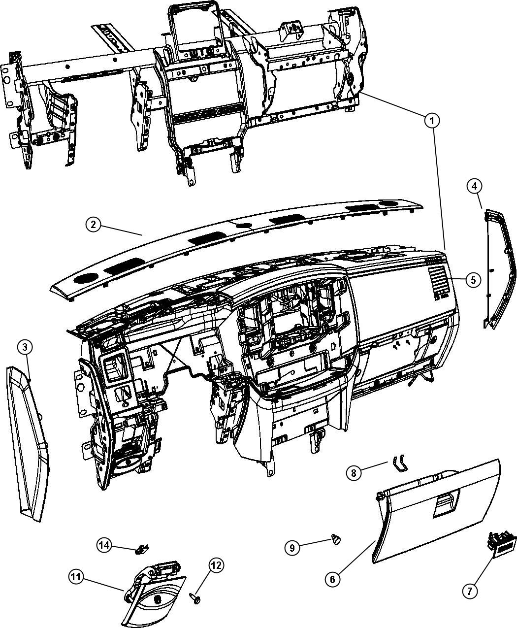 Dodge Ram Latch Glovebox Door Trim All Trim
