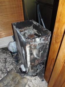 Fire Damaged Washing Machine