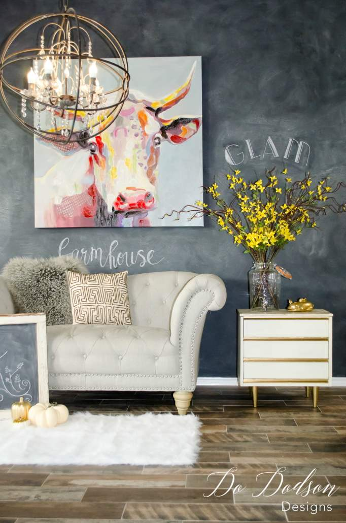 How to create a dramatic chalkboard wall on a budget.