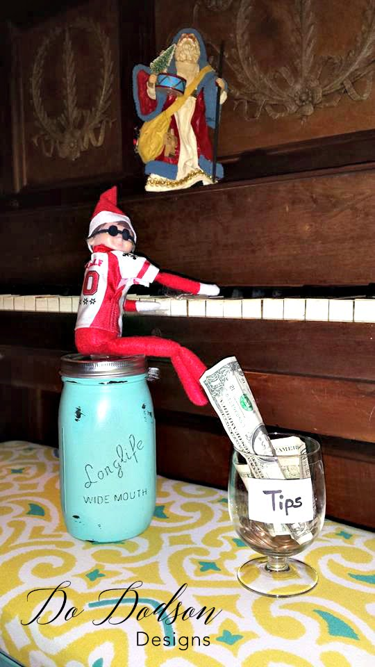 Elf on the shelf mischievious ideas mocking Stevie Wonder.
