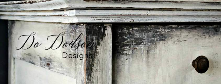 Antique dresser makeover using Wise Owl Paint and a putty knife.