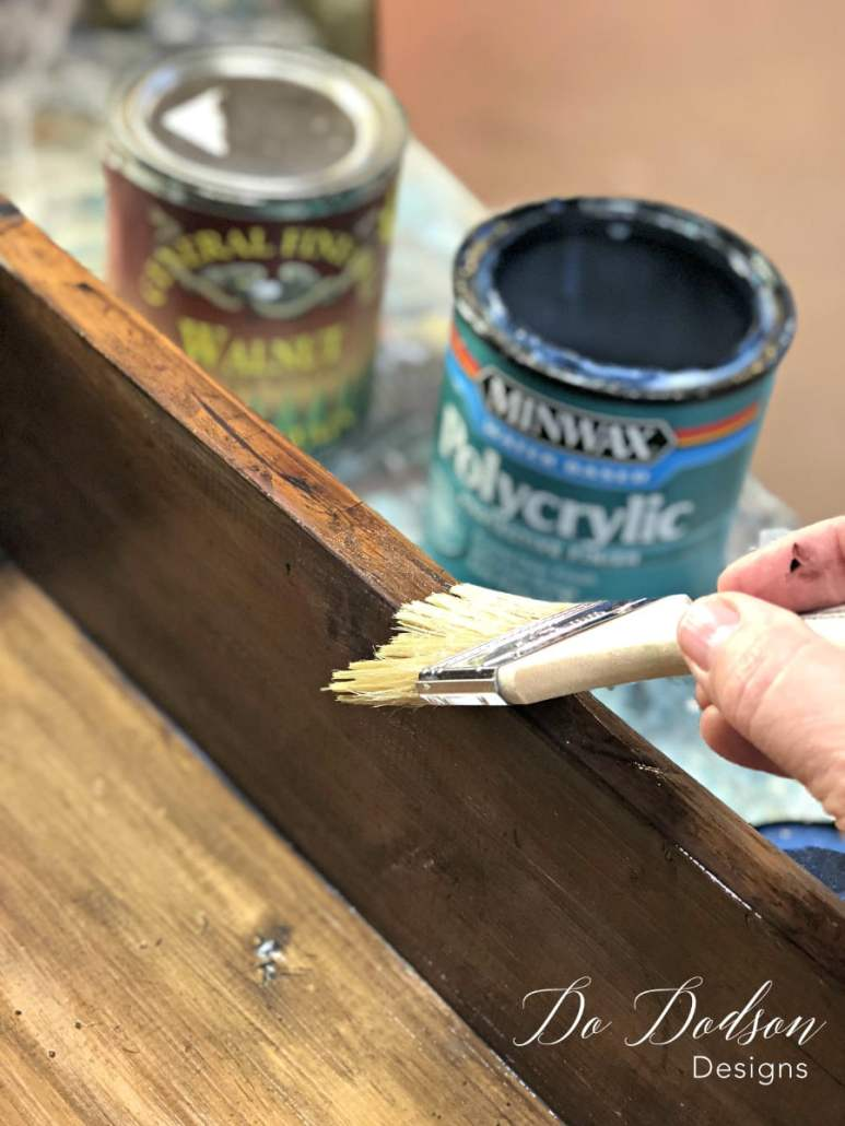 I applied a thin coat of the polycrylic to seal the water based stain on my decorative shelves.