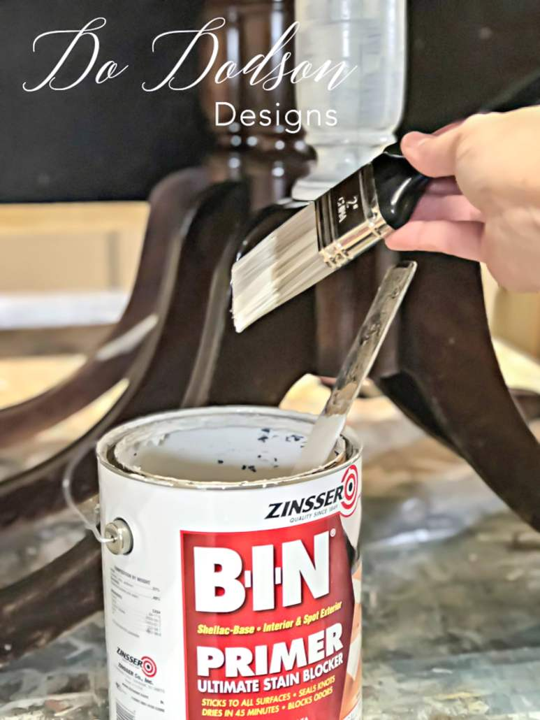 You should always primer before painting raw wood. No paint will stop bleeding of stains and tannins. BIN Primer is my favorite. The will ensure that the paint stripes you apply will not fail.