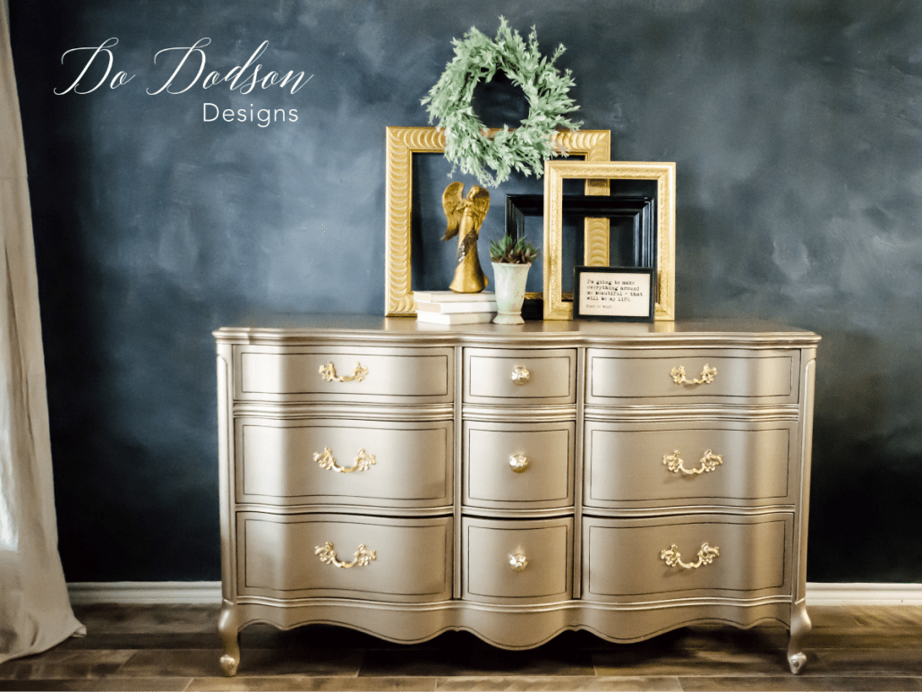Warm silver metallic paint is a dreamy color with a hint of gold. #dododsondesigns #metallicpaint #paintedfurniture #furnituremakeover