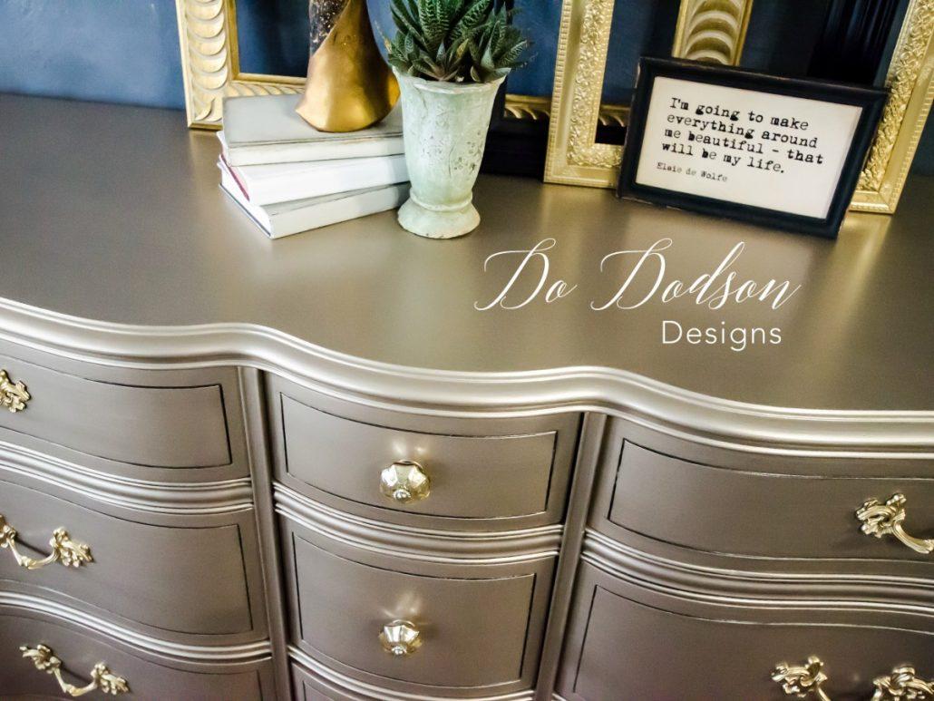 Metallic paint on furniture. #dododsondesigns #metallicpaint #paintedfurniture #furnituremakeover